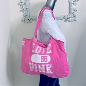 """""""Love PINK 86"""" Reversible Canvas Tote Bag NWT"""